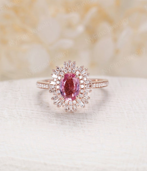 Vintage rose gold halo diamond oval cut pink sapphire antique wedding unique anniversary promise ring
