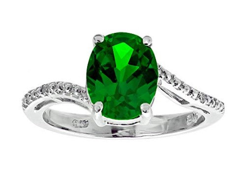 .01 cttw diamond 925 sterling silver 2.2 ct oval created emerald ring