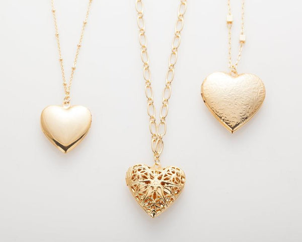 Polished gold-plated heart locket locket charm pendant necklace