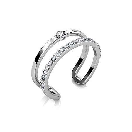 Stackable 18k white gold plated ring for women