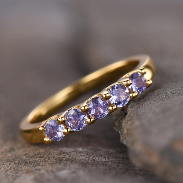 Handmade cluster natural blue stone tanzanite stacking December birthstone wedding ring