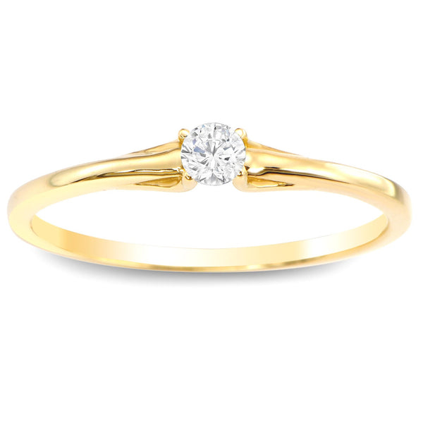 Stackable Diamond Rings - 10k gold 1/10ct tdw petite solitaire diamond stacking promise ring