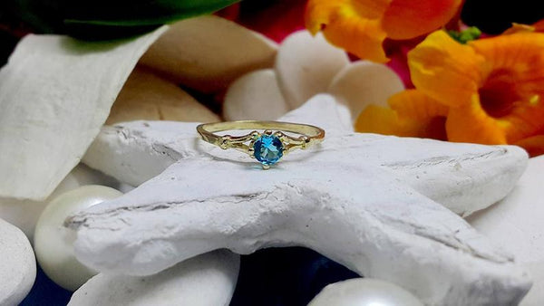 Round tiny blue topaz gold stacking December birthstone ring