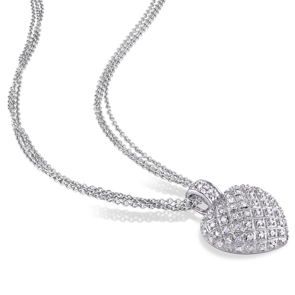 Diamond Chain Necklaces - sterling silver 1ct tdw diamond heart triple-strand drop necklace
