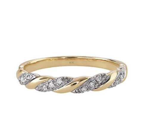 Wedding Rings For Women - Breathtaking 0.06 Cttw Diamond 10K Yellow Gold Twisted Wedding or Anniversary Band