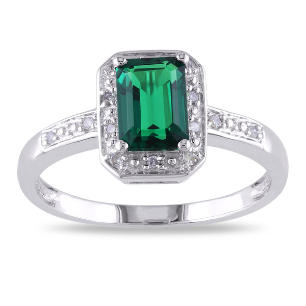 10k white gold created emerald and diamond accent ring