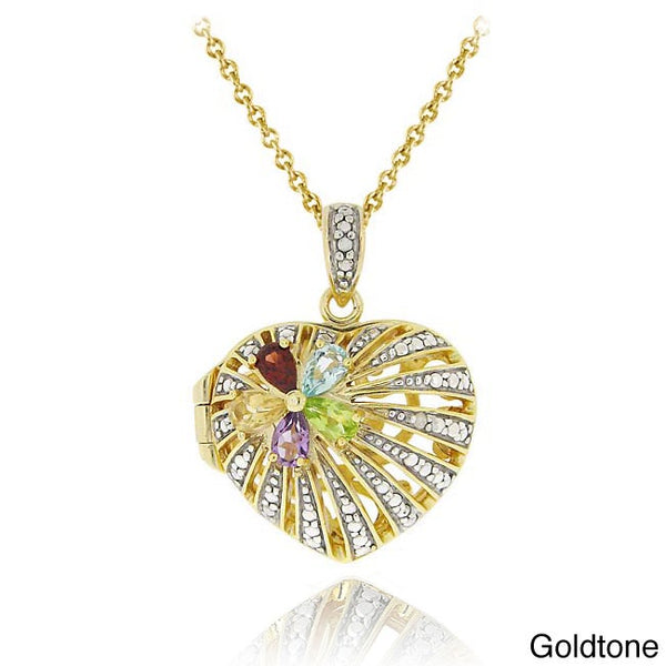 Two-tone multi-gemstone and diamond heart locket necklace