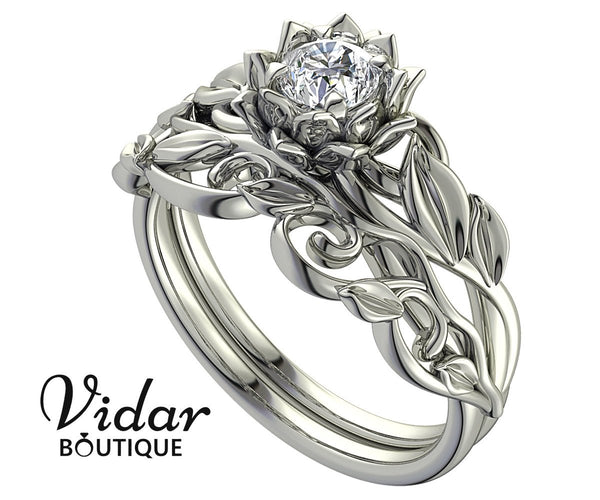 unique floral leaf design engagement ring set for your pretty wife - wedding ring sets, wedding ring sets for her, womens wedding ring sets