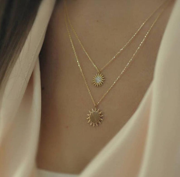 14k white gold sun necklace