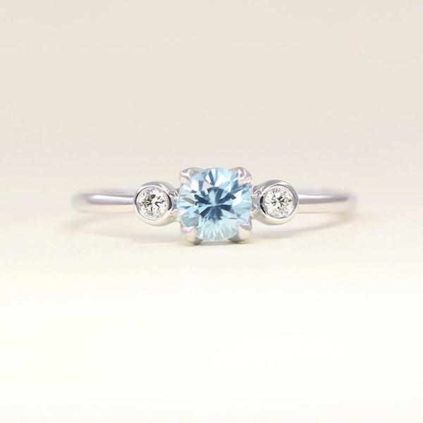 Dainty blue zircon with diamond December birthstone wedding engagement band ring in 14k solid gold