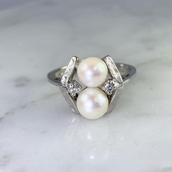 June Birthstone Rings - vintage Akoya pearl June's birthstone engagement ring with diamonds accents set in 14k white gold