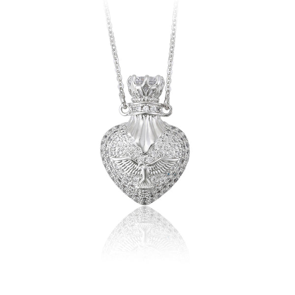Heart locket silver color pendant necklace