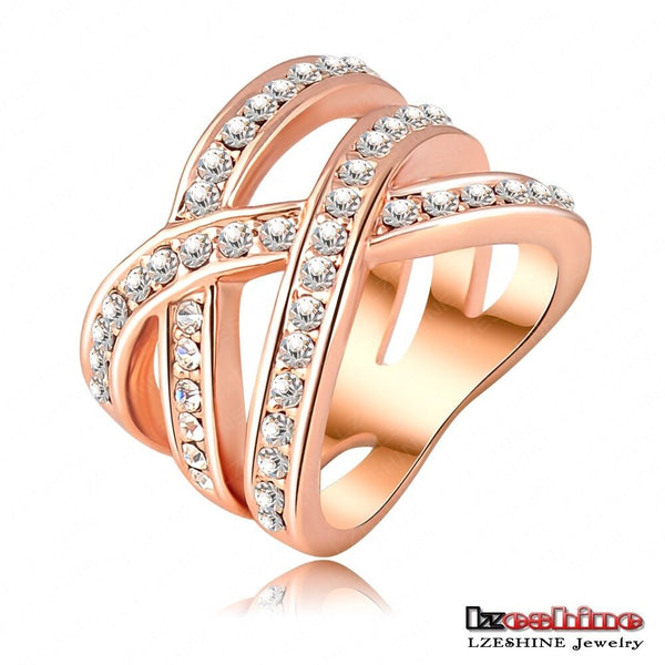 Womens 18k rose gold plated double cross round Austrian crystals band ring