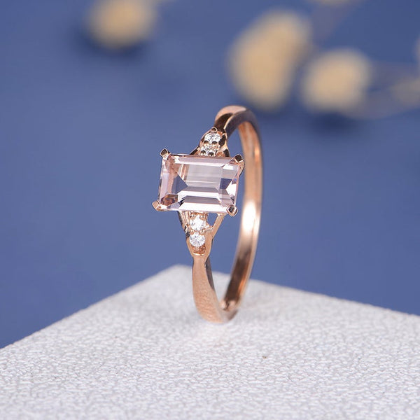 Womens rose gold emerald cut morganite micro pave wedding anniversary bridal engagement ring