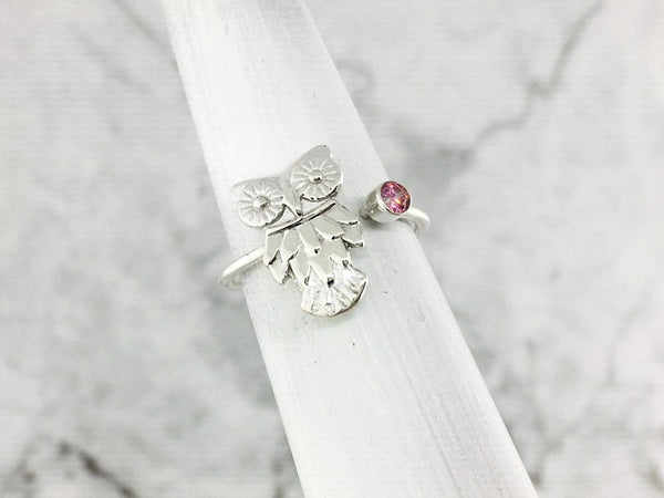 October Birthstone Rings - pink stone October birthstone owl ring
