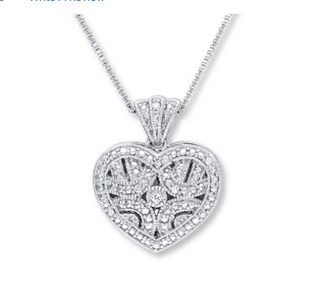 1/20 ct tw round-cut sterling silver heart locket necklace
