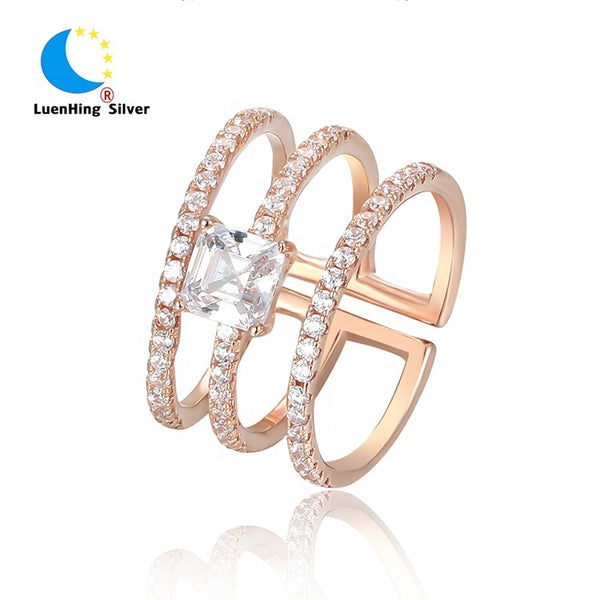 Rose Gold Rings For Women - Gorgeous CZ Diamond Three Circle Rose Gold Plated Sterling Silver Band