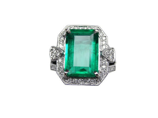 18k solid gold emerald cut emerald and diamond cocktail bridal engagement ring