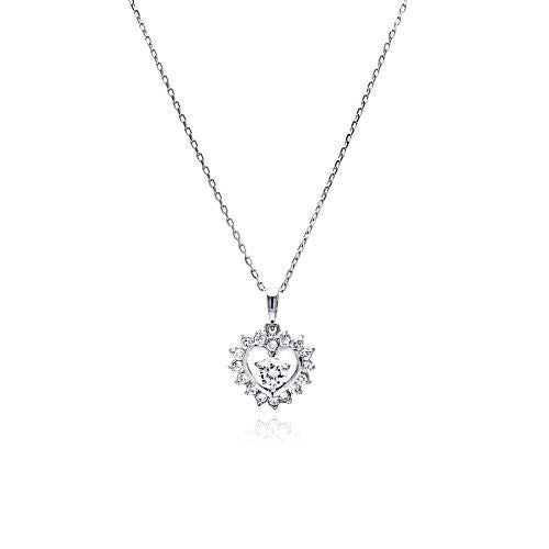 Womens 925 sterling silver open heart cz necklace