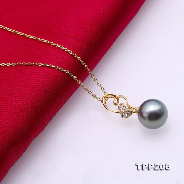 14k gold AAA+ 11.5mm black round Tahitian pearl pendant necklace