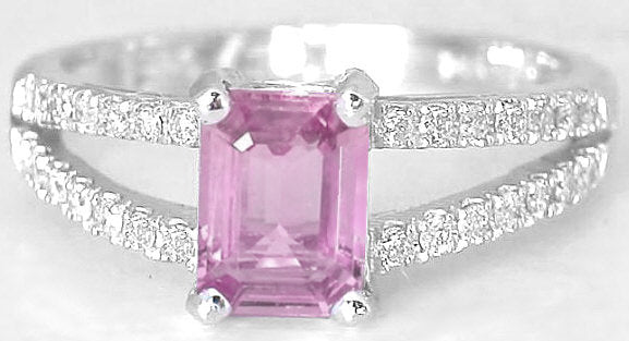 1.10 ctw emerald cut pink sapphire and diamond ring in 14k white gold