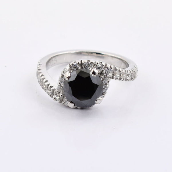 2.35 black diamond solitaire women's ring in 925 silver with white diamond accents