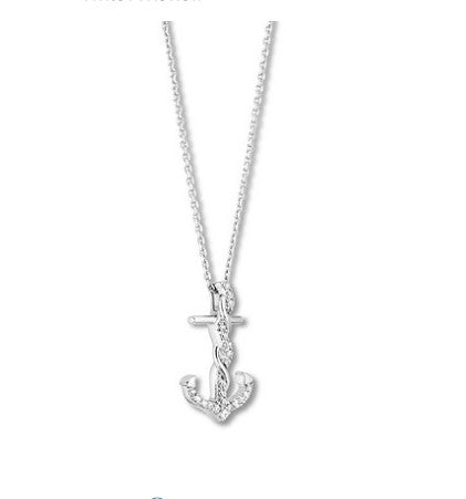 Diamond Chain Necklaces - hallmark 1/6 ct tw sterling silver diamonds anchor necklace