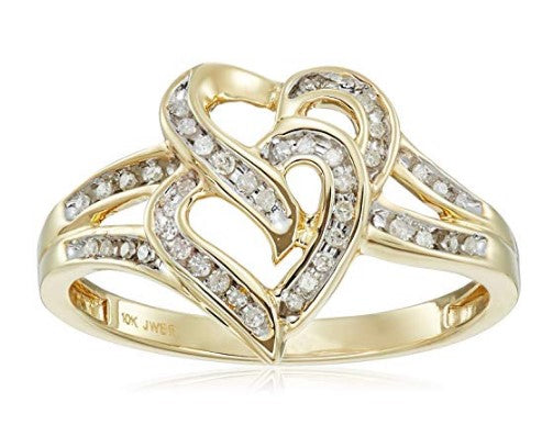 Heart Shaped Diamond Ring - 1/10cttw 10k yellow gold diamond heart ring