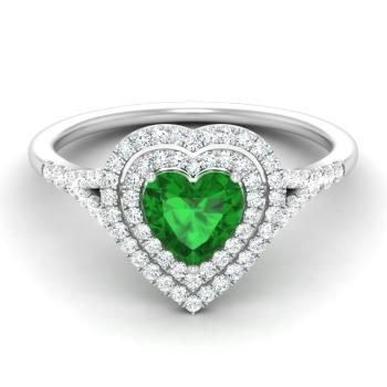 1.3 carat emerald and diamond halo ring in 14k white gold
