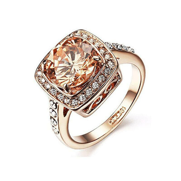 18k rose gold plated yellow shinning cubic zirconia topaz ring