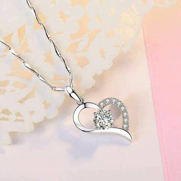 925 sterling silver open double heart pendant necklace chain