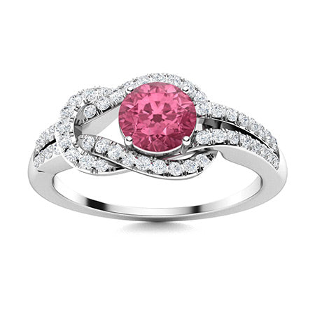 1.0 carat pink sapphire and diamond sidestone ring in 14k white gold