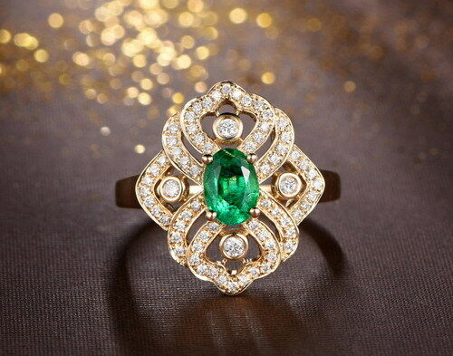 Solid 14k yellow gold genuine natural green emerald diamonds engagement ring