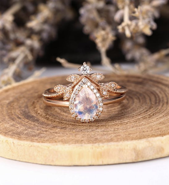 Rose Gold Rings For Women - Unique Engagement Jewelry Moonstone Drop Cut Rose Gold Ring for Women