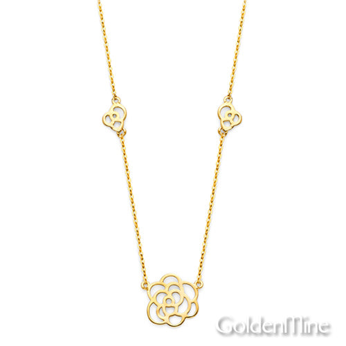 Gold Charm Necklace - romantic floating 14k yellow gold rose charm necklace