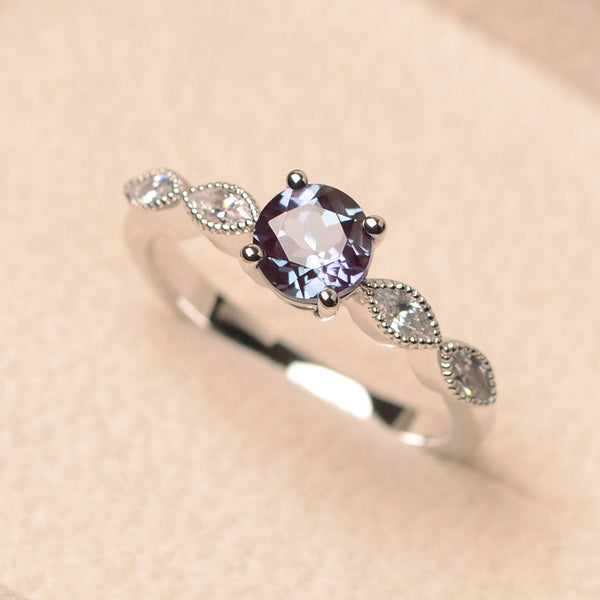 June Birthstone Rings - round cut color changing gemstone alexandrite silver June birthstone engagement ring