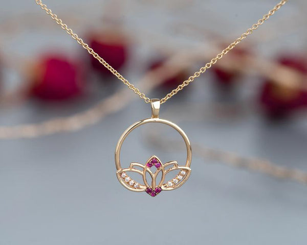 14k gold lotus ruby flower bohemian charm necklace for women