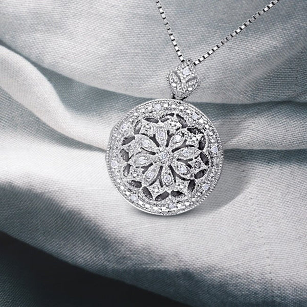 Diamond Chain Necklaces - sterling silver vintage 1/10ct tdw diamond locket floral drop necklace