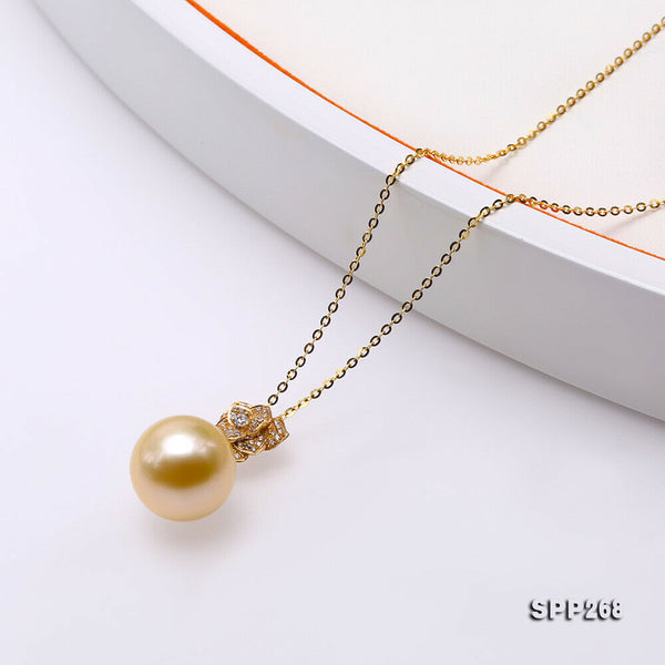 14k gold flower-shape pendant 13mm round golden south sea pearl women necklace
