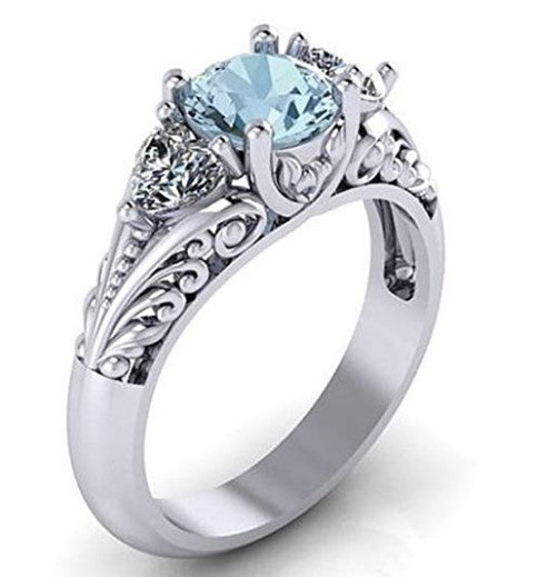 Women's silver oval cut natural aquamarine cubic zirconia engagement ring