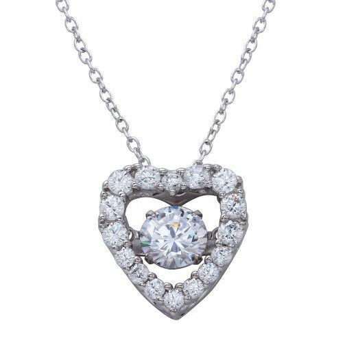 Womens 925 sterling silver plated open heart dancing cz pendant necklace