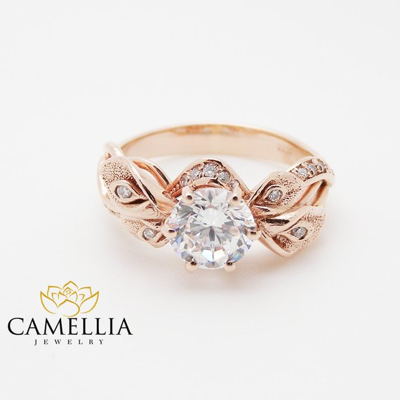 Rose Gold Rings For Women - Natural Clarity Enhanced Diamond 18K Rose Gold Wedding Ring for women