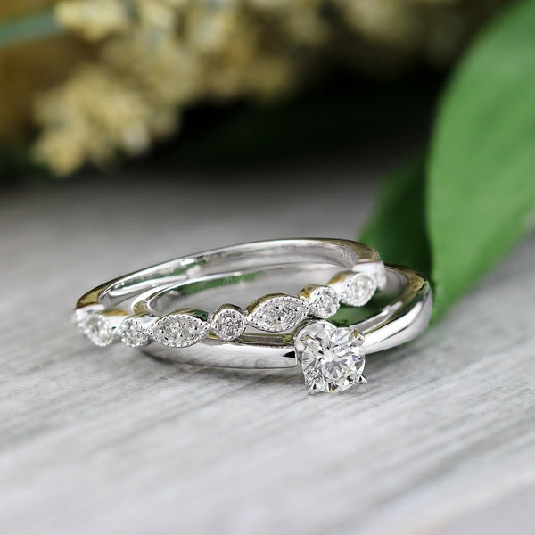 Stackable Diamond Rings - 14k gold 1/2ctw vintage round solitaire diamond engagement ring set