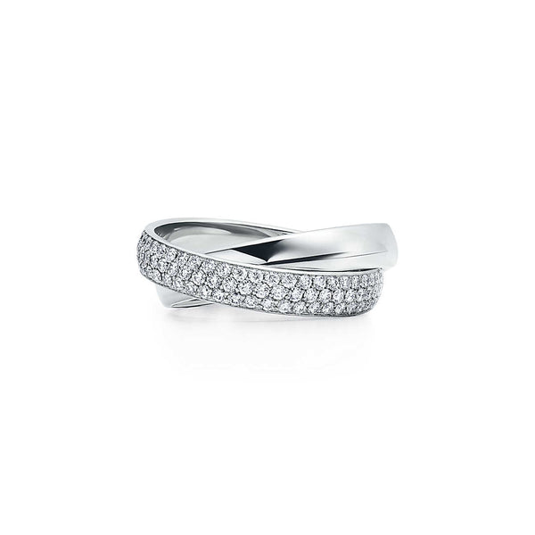 Two-band ring in 18k white gold with diamonds
