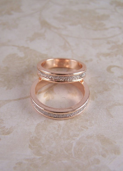 Rose Gold Rings For Women - Fashionable Stardust Stackable Solid Rose Gold Filled Bands for Women