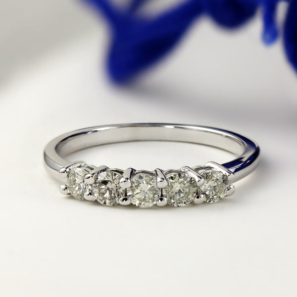Stackable Diamond Rings - 10k gold stackable 1/2ct tdw round 5-stone diamond wedding band