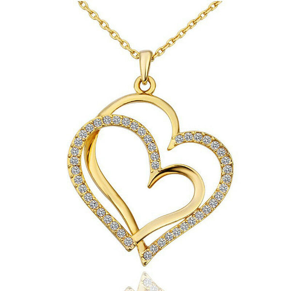 Women filled double heart pendant necklace crystal love rose gold chain jewelry