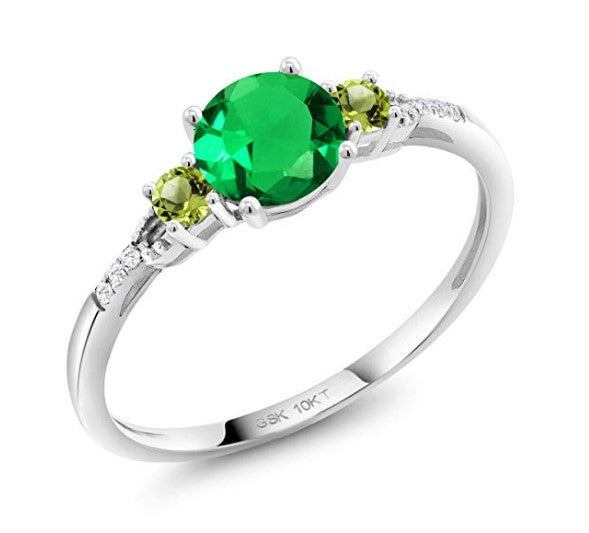 0.94 ct round green simulated emerald green peridot 10k white gold lab grown diamond ring