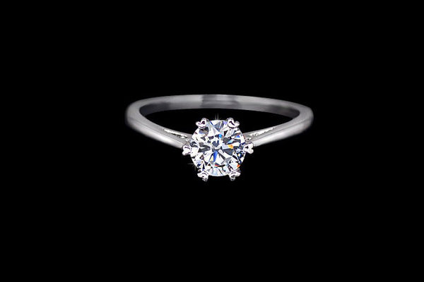 0.75ct cubic zirconia silver solitaire minimalist engagement promise  ring