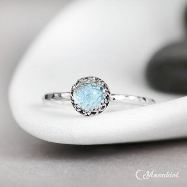 Sterling silver blue topaz stacking December birthstone promise engagement ring